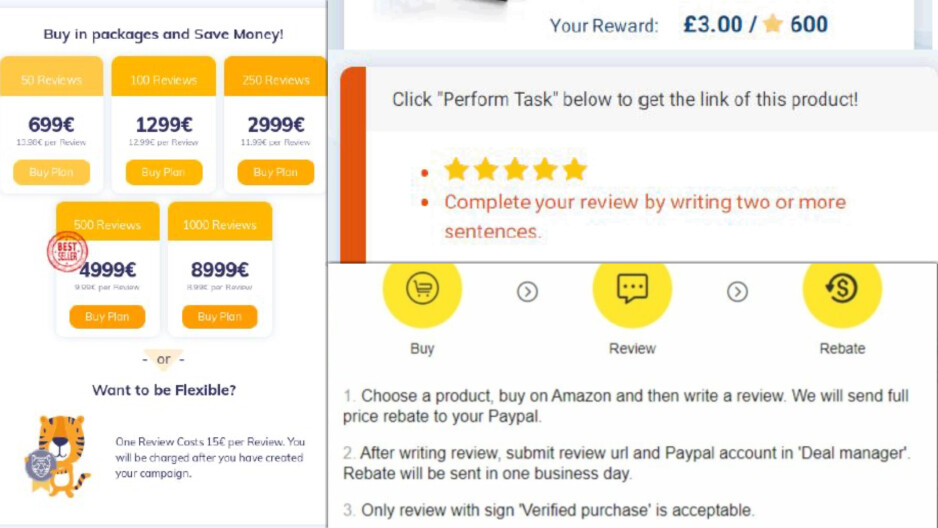 AMZTigers sells individual (£13) and bulk packages starting at £620 for 50 reviews. Prices can go up to £8,000 for 1,000 reviews. In other words, that's a serious business.  - Are Amazon and Google encouraging fake reviews?