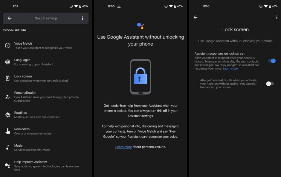 """Set up Google Assistant to work even when your Android phone is locked - Google adds """"Lock screen"""" settings for the Android version of Assistant"""