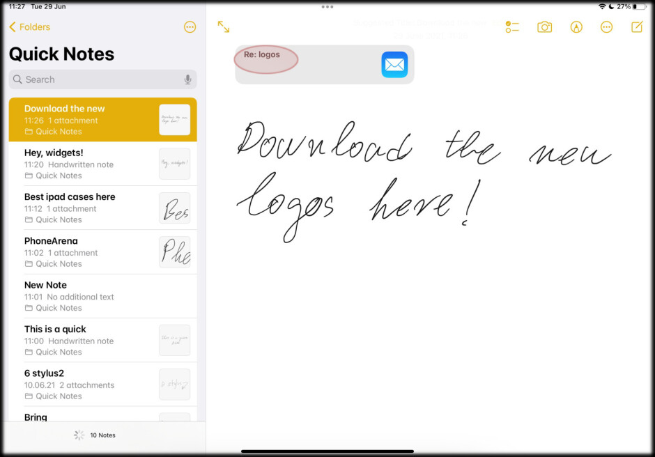 Find your Quick Note in Notes app and tap on the link - iPadOS 15: how to use Quick Notes