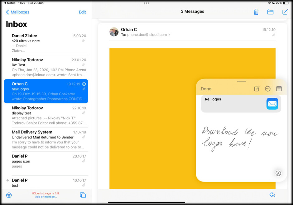 You are back to the same email - iPadOS 15: how to use Quick Notes