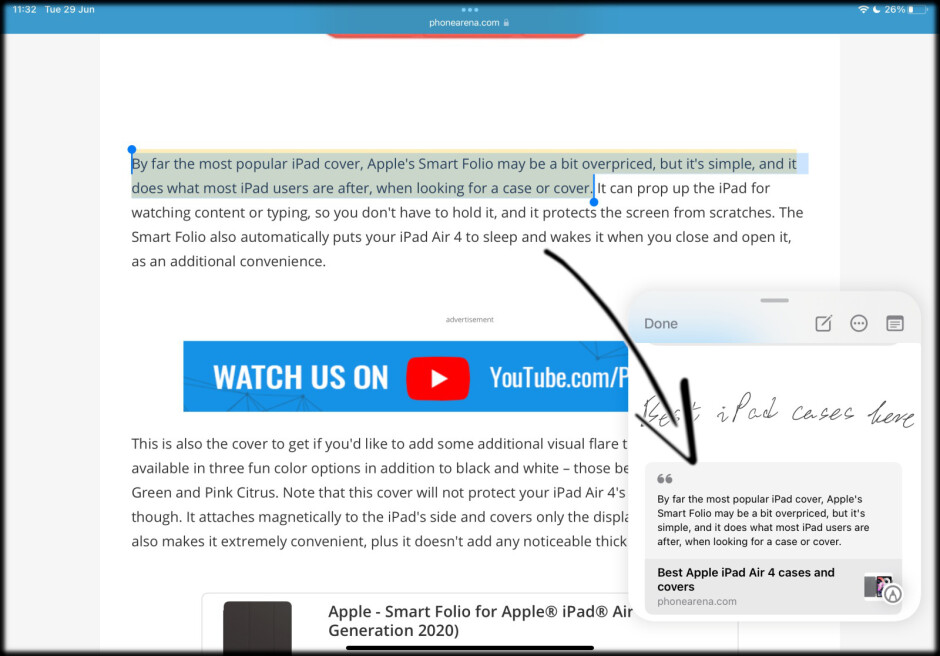 It appears like this - iPadOS 15: how to use Quick Notes