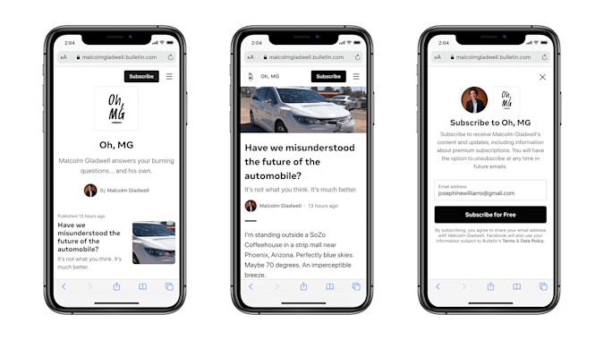 Facebook launches its newsletter platform called Bulletin