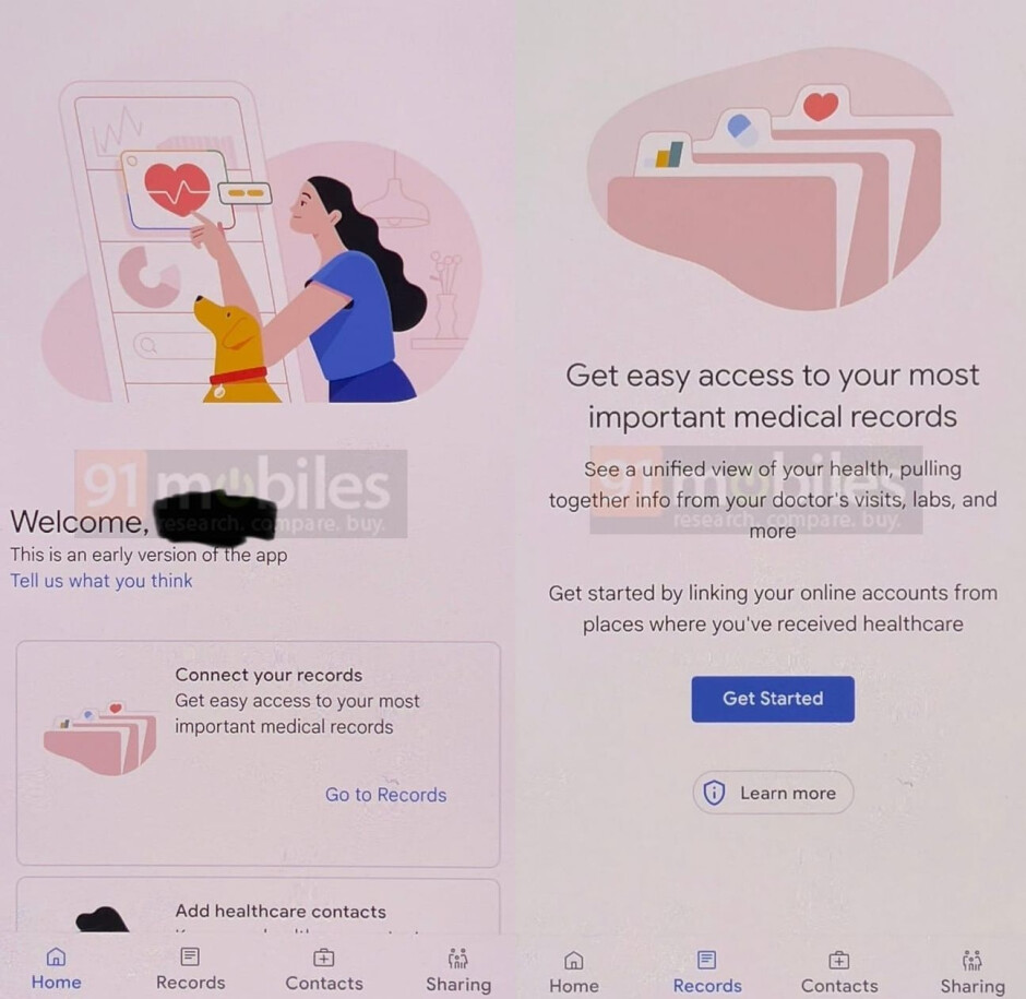 Image credit - 91mobiles - Alleged Google Health app leak shows medical records interface