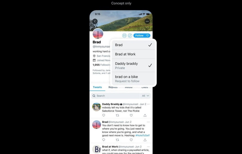 The Facets concept would allow users to select the topics that they want to read about on tweets sent from certain accounts - Twitter shows off a trio of design concepts that might be added to the app some day
