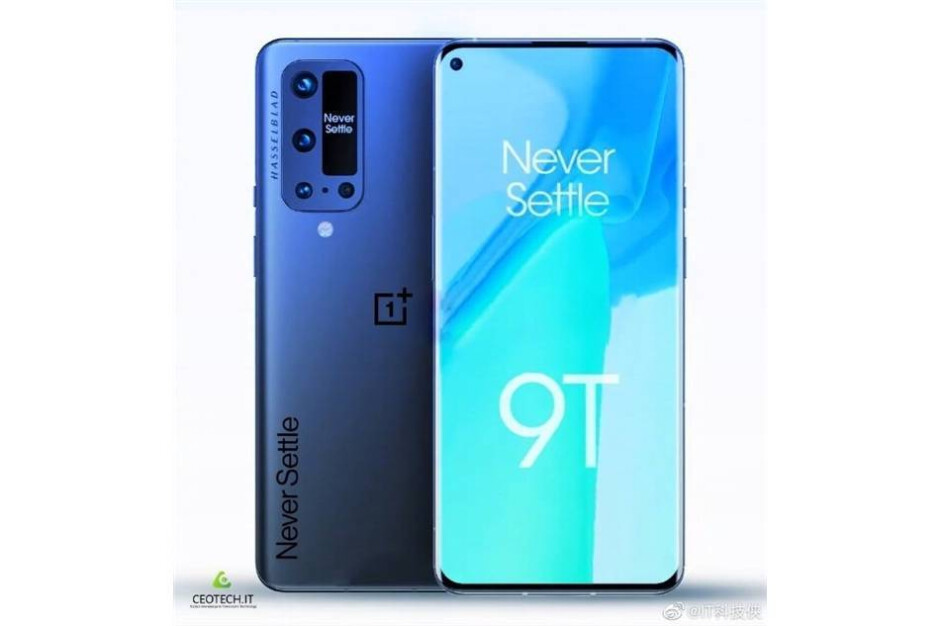 Questionable OnePlus 9T render shows a camera array with a small screen