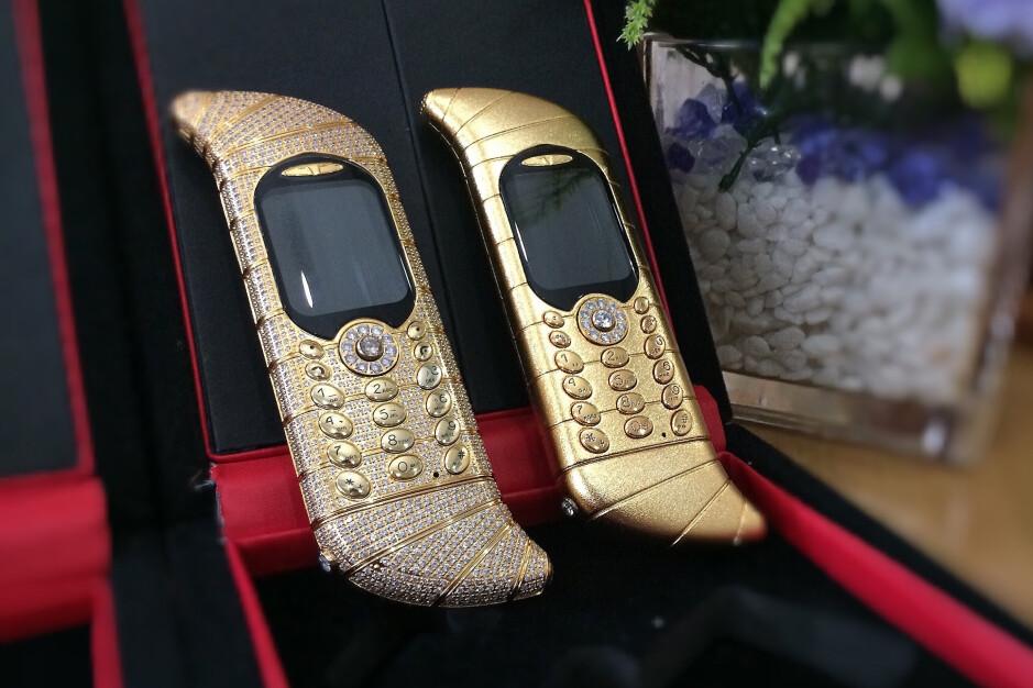 Two of the three Le Million phones on display - The million-dollar tilde-shaped dumb phone – Odd Phone Mondays