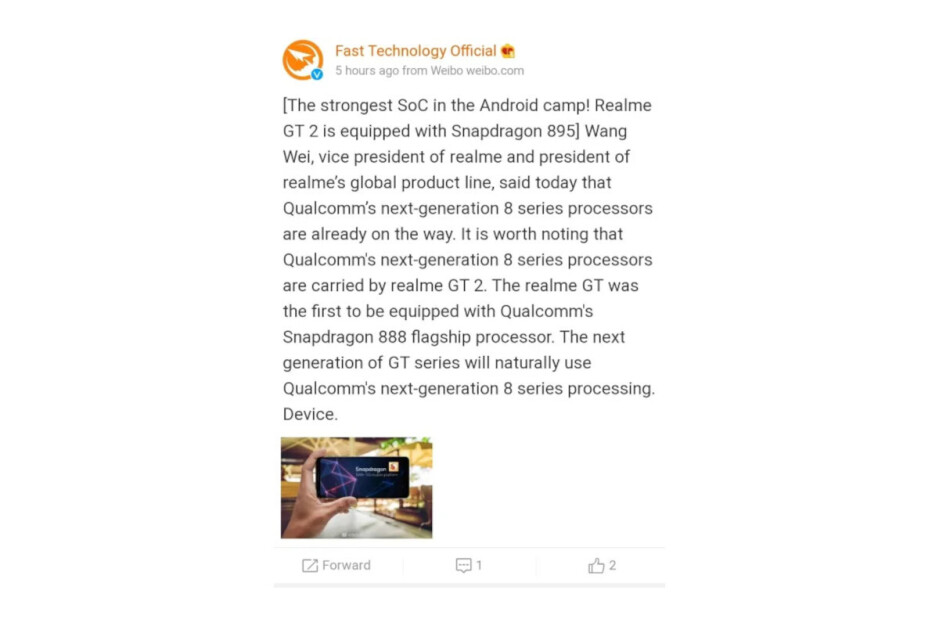 Realme GT 2 will feature Snapdragon 895 chipset