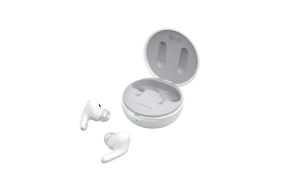 LG Tone Free DFP8W in white - New LG Tone Free FP8 earbuds bring long battery life, signature UV sanitizing case