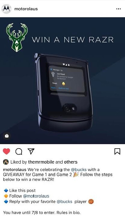 In honor of the Milwaukee Bucks trip to the NBA finals, Motorola is giving away two razr handsets - You can win a new 5G Motorola Razr; here's how (U.S. residents only)