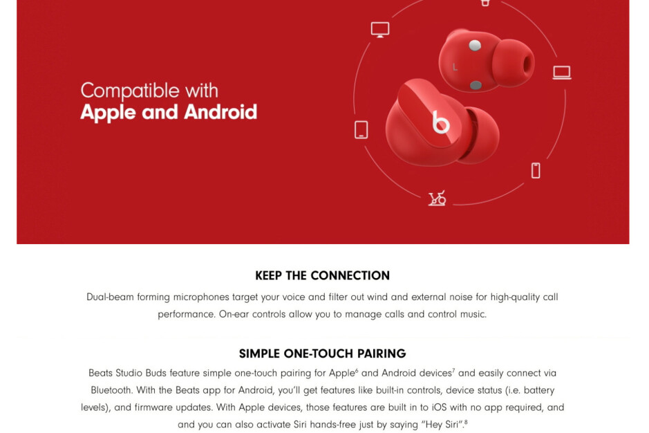 On the left - the original way the Beats Studio Buds Amazon page looked; on the right - how it looks now. - U-turn: Indecisive Apple removes Samsung's Galaxy S21 from Beats Studio Buds ad