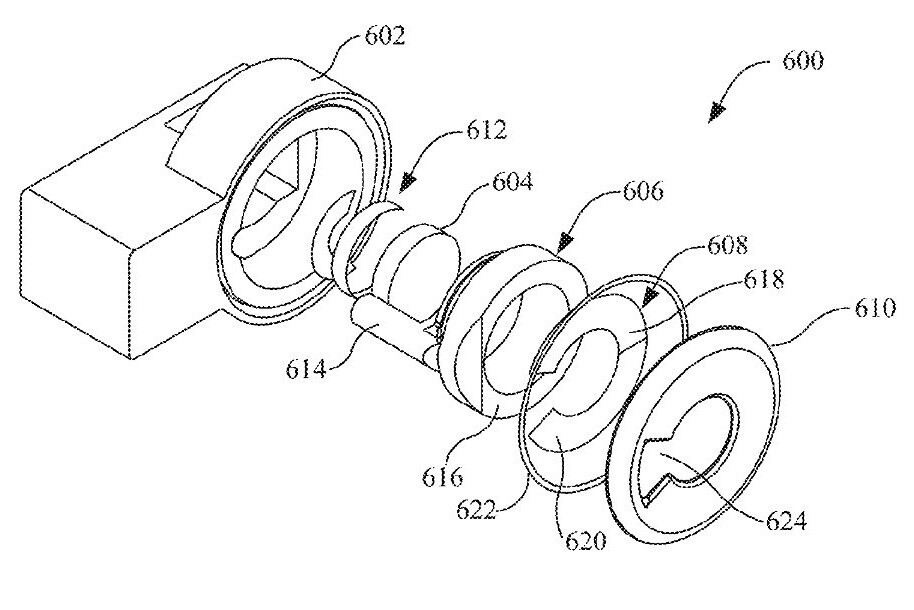 An image from the patent showing an arrangement of lenses and components that make up the attachment - Apple might add a way to measure temperature with your iPhone