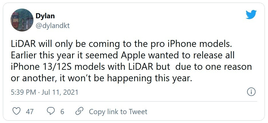 """Tipster says that only iPhone 13 Pro models will feature a LiDAR sensor - Once again, LiDAR sensor to be found on upcoming iPhone """"Pro"""" models only says tipster"""