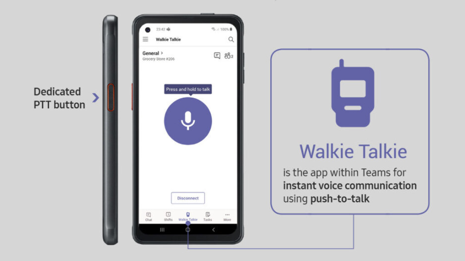The button on the Galaxy XCover Pro can be programmed as a dedicated Push-To-Talk button - You will soon be able to use your phone as a walkie-talkie with Microsoft Teams