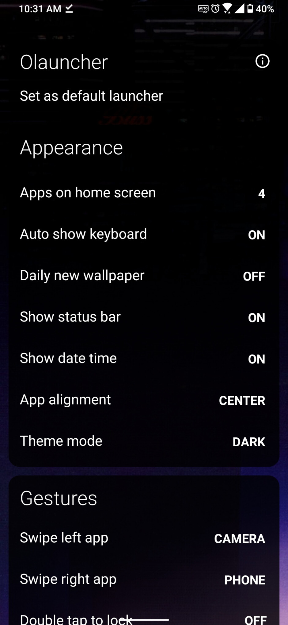 The Olauncher settings screen - Android Refresh Tuesdays – Minimalist theme