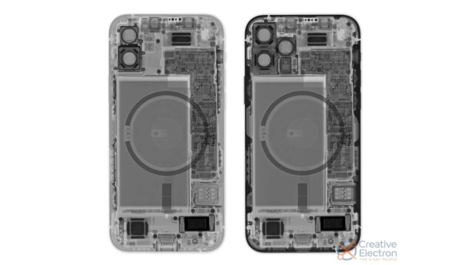 iPhone 12 on the left and 12 Pro on the right, image by Creative Electron - Why do cameras on the iPhone 13 suddenly have diagonal orientation?
