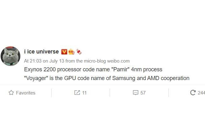 Ice Universe's post regarding Exynos 2200 on Weibo - Exynos 2200 may feature AMD's 'Voyager' GPU and Samsung's next-generation transistor architecture
