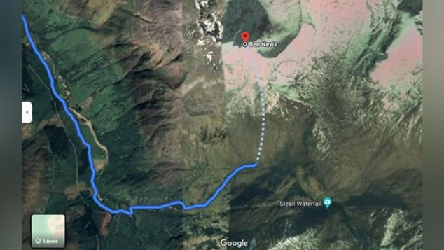 This image shows a dangerous route suggested by Google Maps to climb up Scotland's tallest mountain - Google Maps is giving out potentially fatal directions to mountain climbers