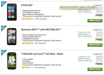 T-Mobile myTouch 3G Slide, HTC HD7, & Motorola DEFY are free through T-Mobile today only