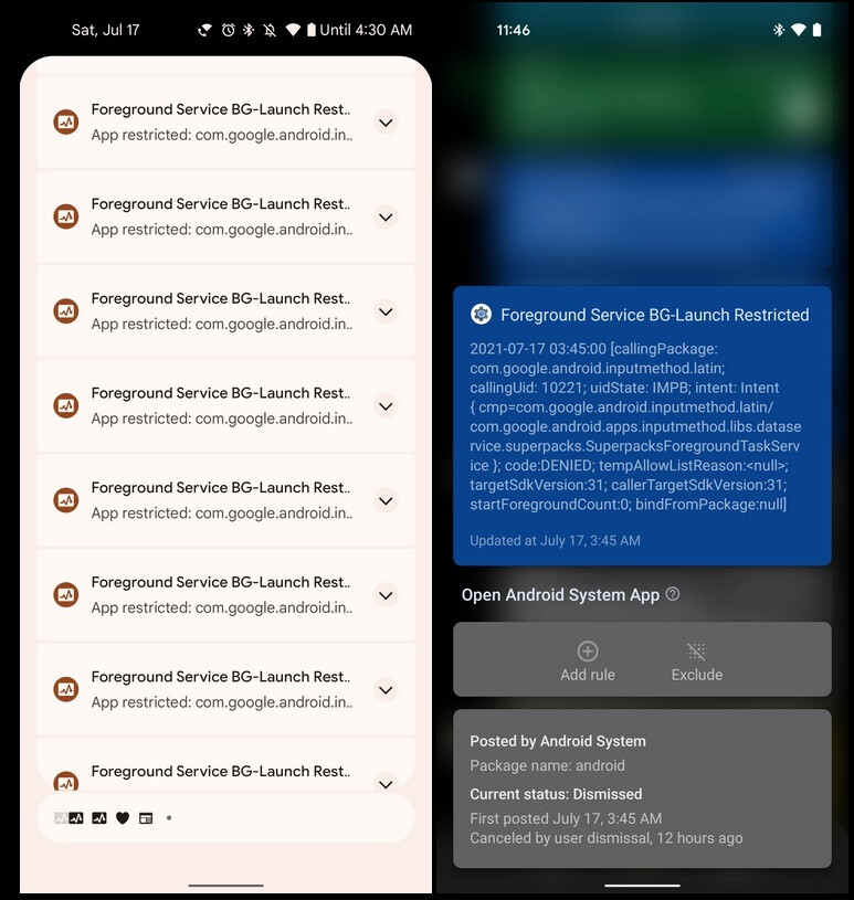 Some Android 12 beta 3 users saw these notifications pop up on their phones overnight. Credit-9to5Mac - Android 12 beta testers receive shockingly large number of notifications from Gboard