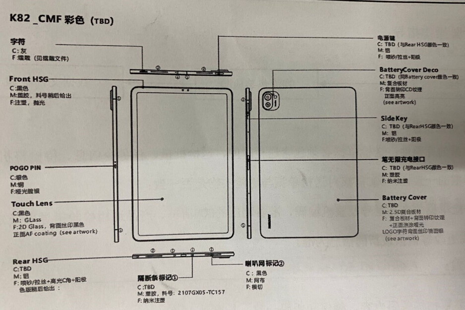 A sketch drawing of the Xiaomi Mi Pad 5 has surfaced