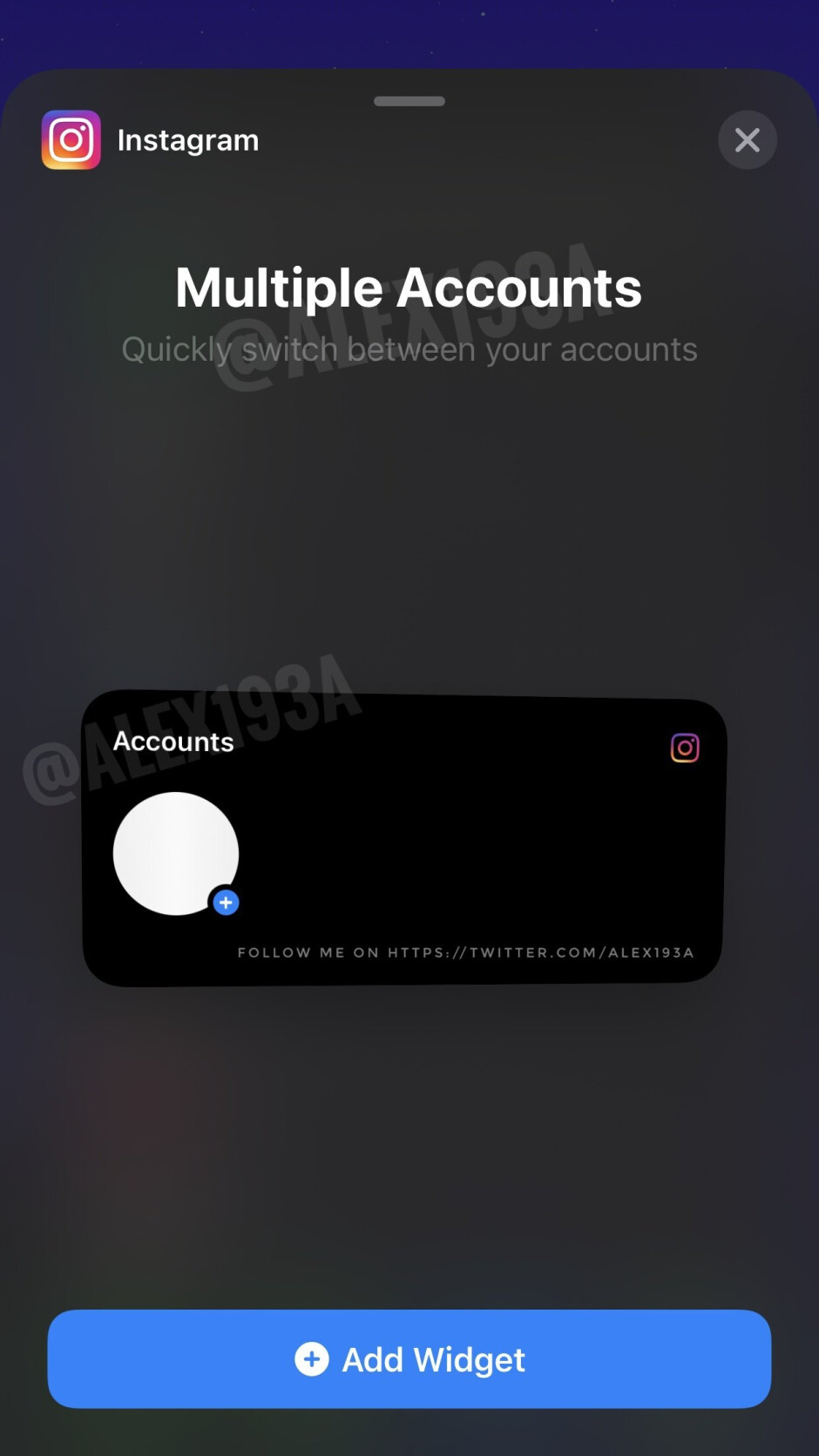 Instagram is working on an iOS home-screen widget for easy account switching