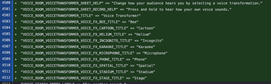 Back-end code references for the voice effects, revealed by Steve Moser - Twitter working on voice effects to change the way you sound for voice chat feature Twitter Spaces