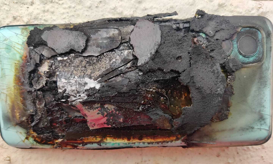 A OnePlus Nord 2 5G after its battery exploded - OnePlus Nord 2 5G gets cooked well done after its battery explodes