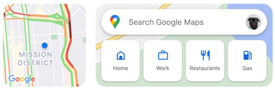 The two Google Maps widgets for iOS with the Traffic widget at left and the Search widget at right - Check out the new features coming to the iOS version of Google Maps (Dark Mode is included!)