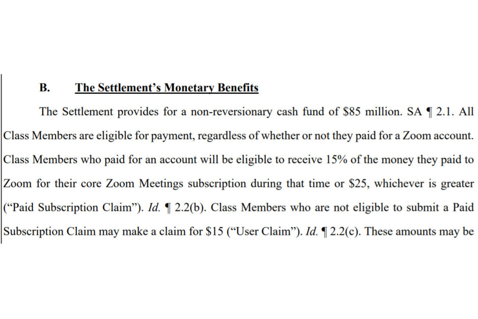 A screenshot from the settlement proposal - Zoom will owe you $15 after lawsuit for lying about encryption