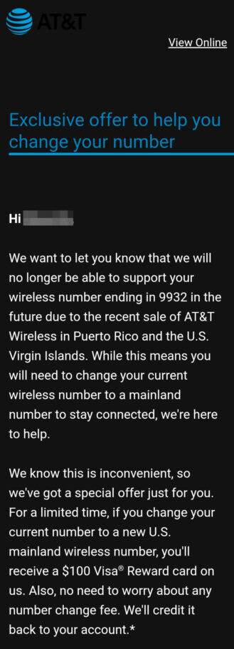 AT&T wants some of its customers in two markets to give up their phone numbers in exchange for a 0 gift card - Some AT&T customers are losing their phone numbers in exchange for a 0 gift card
