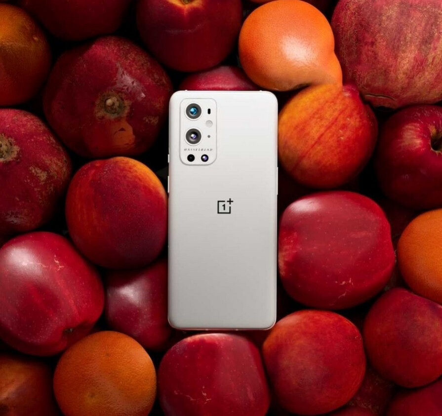 """OnePlus takes a shot at Apple with this promo photo of the OnePlus 9 Pro - OnePlus' 5G """"forbidden fruit"""" photographed taking a shot at the iPhone"""