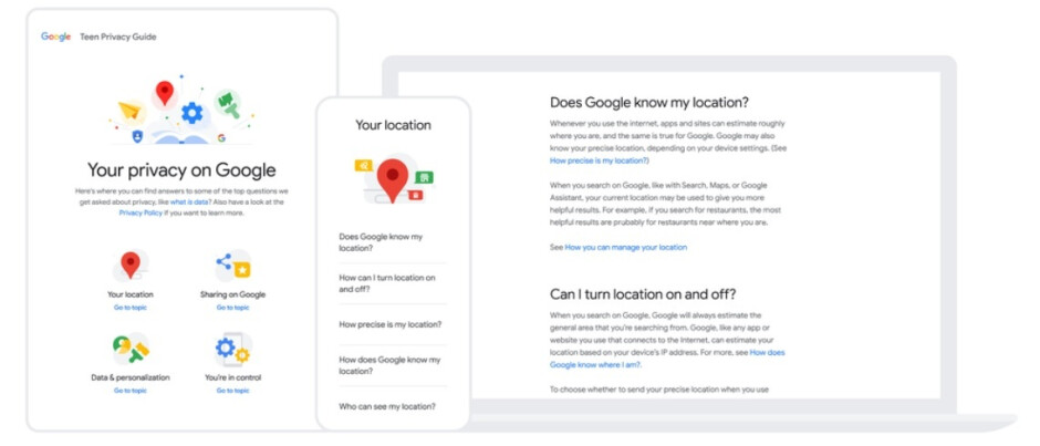 Google is disseminating material to help teens and parents learn about its policies - Google makes its apps safer and more private for teens and pre-teens