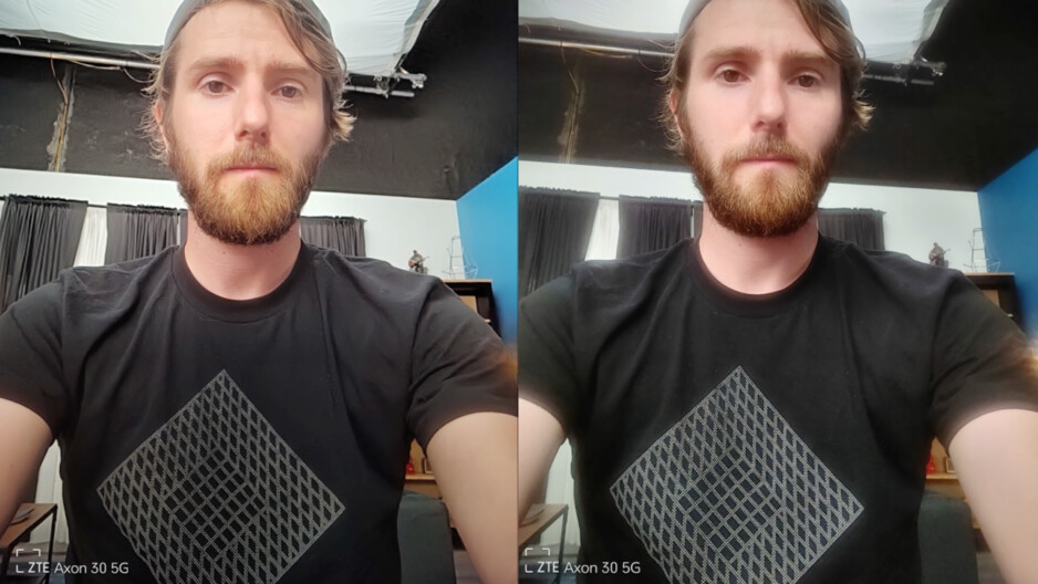 Enhanced photo (left) vs regular (right). The difference is huge. Well done, ZTE! Image courtesy of ShortCircuit (YouTube). - It's happening! Under-display camera phones are finally here, but not all are created equal