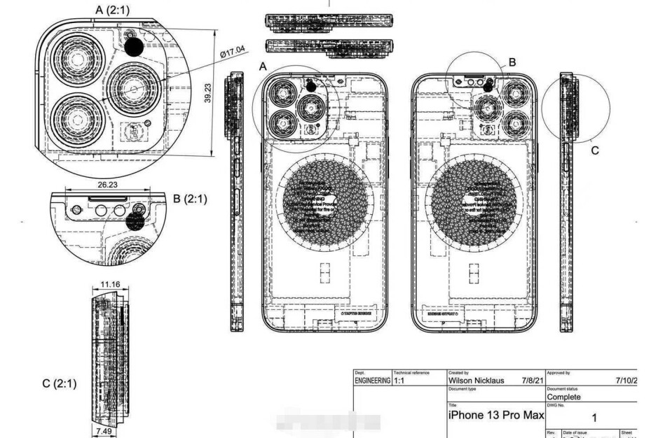 Alleged iPhone 13 Pro Max design sketch - New images claim to show the back of the Rose Gold iPhone 13 Pro