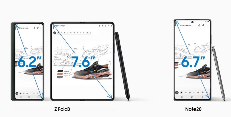 Samsung compares the Galaxy Z Fold 3 with last year's Galaxy Note 20 - 5G Galaxy Z Fold 3, Galaxy Z Flip 3 pre-orders reportedly show strong demand in Sammy's hometown
