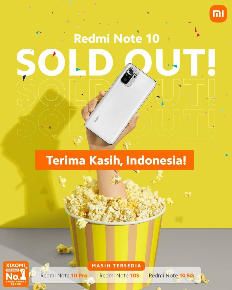 Xiaomi Indonesia's Instagram post about the Redmi Note 10 being sold out - Redmi Note 10 production on a pause; Chip shortages finally affecting Xiaomi