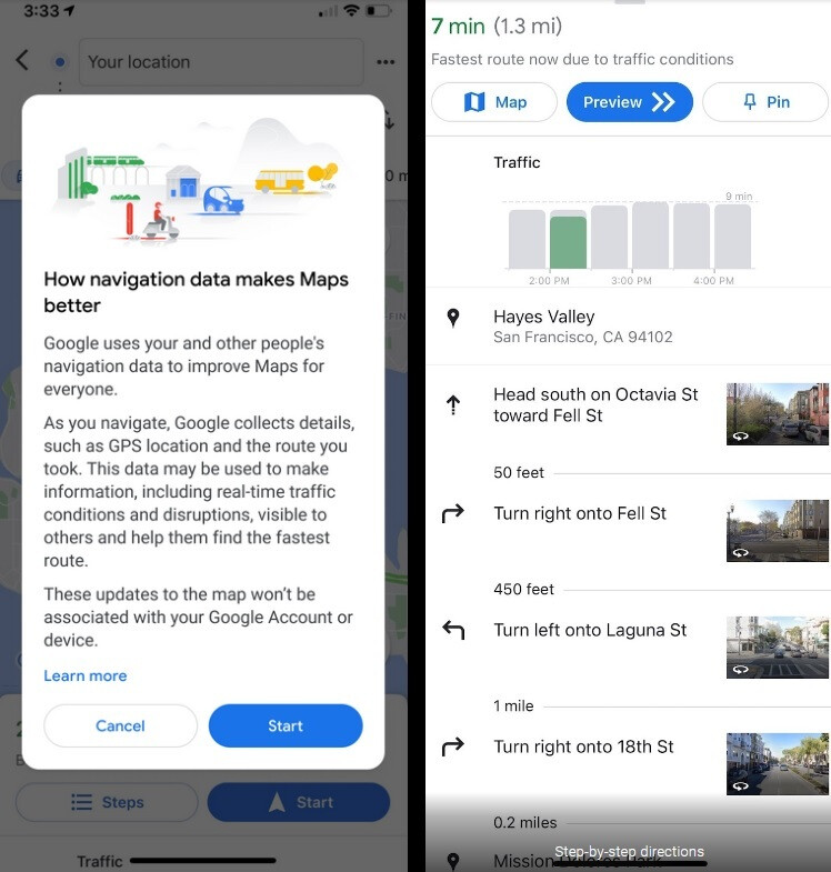 Google explains how it uses your crowdsourced data on the left and those who don't opt-in to the program will see a step-by-step set of directions. - Google's ultimatum: allow Maps to use your crowdstreamed data or lose turn-by-turn navigation