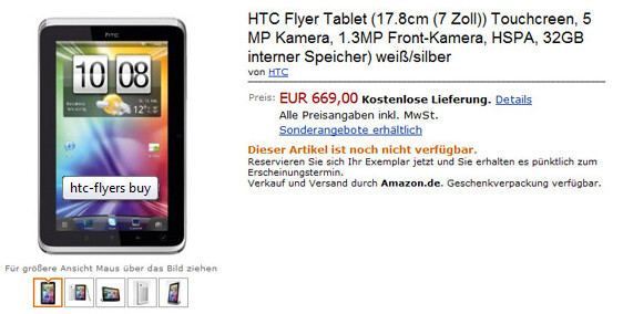 Amazon Germany is selling the just introduced HTC Flyer tablet for 669 euros, the equivalent of $904 U.S. dollars - HTC Flyer spotted on Amazon Germany priced at 669 euros ($904 U.S. dollars)