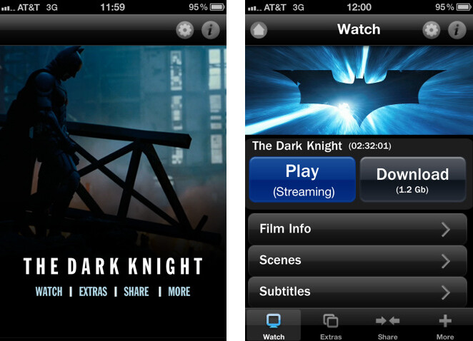 Apple iPhone users can get free apps for The Dark Knight and Inception that offer the opportunity for the user to pay to have the full-length movies downloaded or streamed to their handset - Dark Knight app for the Apple iPhone starts as free preview and can end with you downloading the full-length film