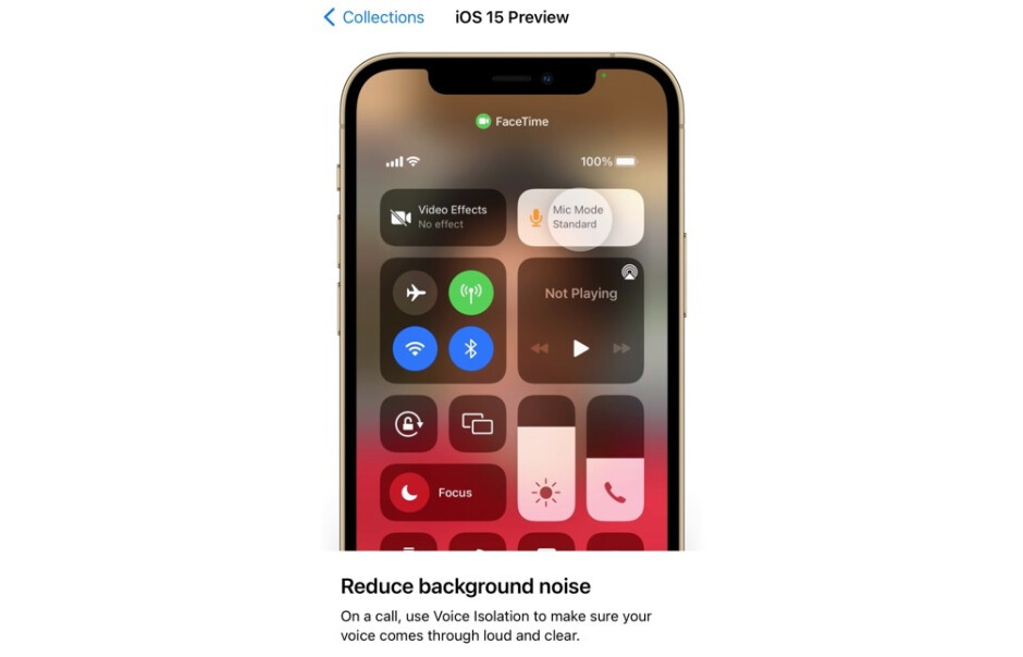 The preview features information on FaceTime's new Voice Isolation feature - View a preview of the new iOS 15 features courtesy of Apple