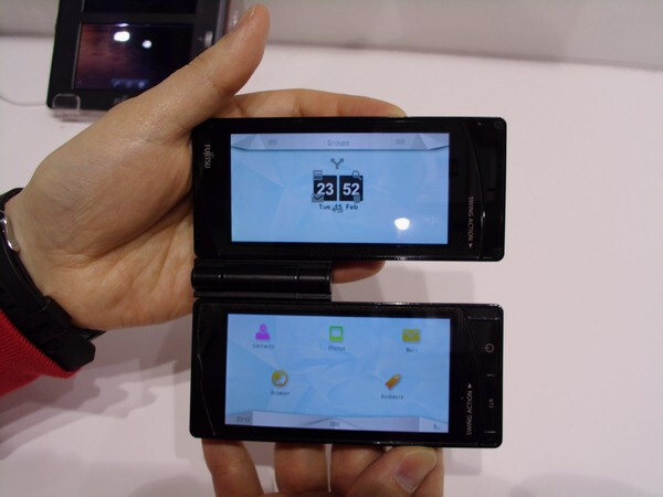 Fujitsu's new dual-screen handset was released in Japan and is powered by Symbian; an Android flavored model is on the way - Can you hear an echo? Fujitsu to make dual touchscreen handset