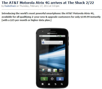 Motorola ATRIX 4G priced at $149 by RadioShack, AT&T offers it for $199