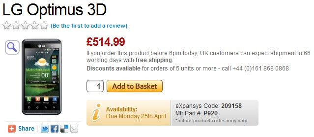 LG Optimus 3D pricing details and launch date in the UK available