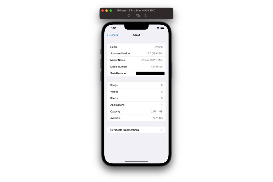 Xcode 13 simulator for the iPhone 13 Pro Max depicts a status bar without battery percentage - iPhone 13 seemingly still doesn't show the battery percentage in the status bar
