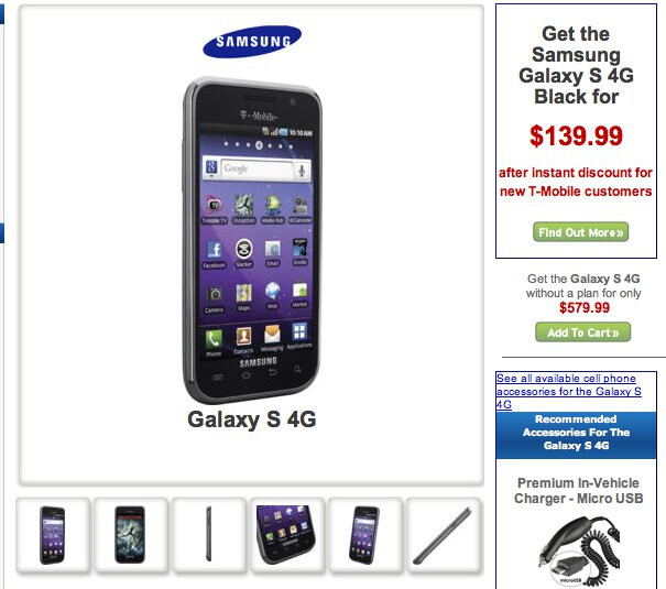 Wirefly has pre-orders up for the Samsung Galaxy S 4G - $140 for new customers