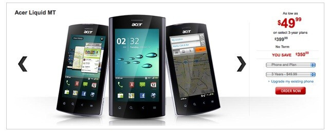 Acer Liquid MT is now available through Rogers for $49.99 with a 3-year contract