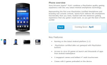 O2 UK sets the release date of the Sony Ericsson Xperia PLAY to April 1st