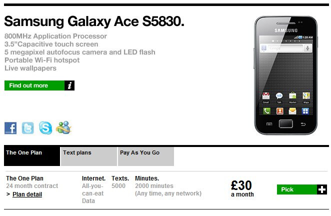 Samsung Galaxy Ace launches on Three UK; also available on pay-as-you-go plans
