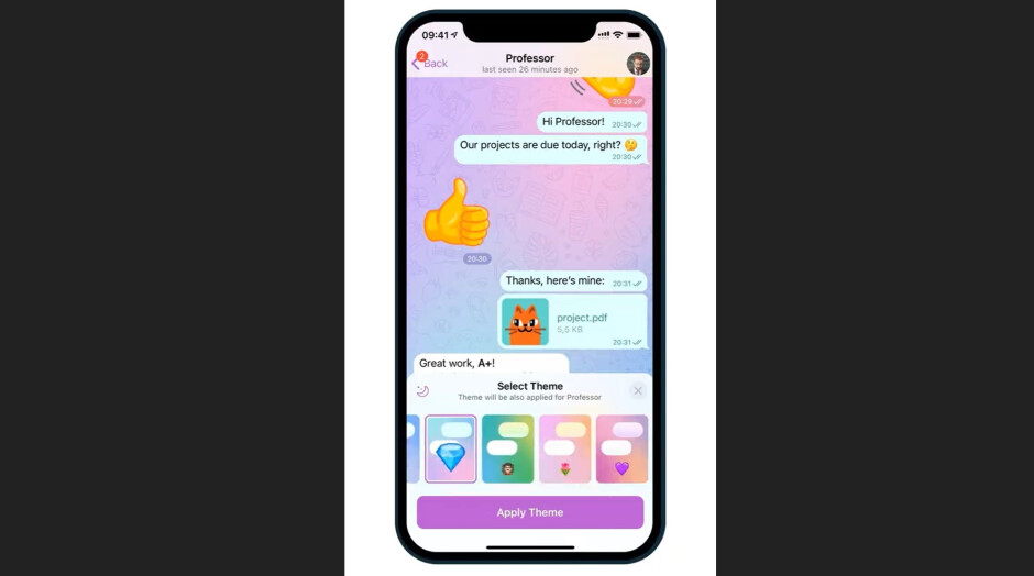 The new update brings eight themes for individual chat customization - Telegram update brings chat customization options, full-screen animated emoji