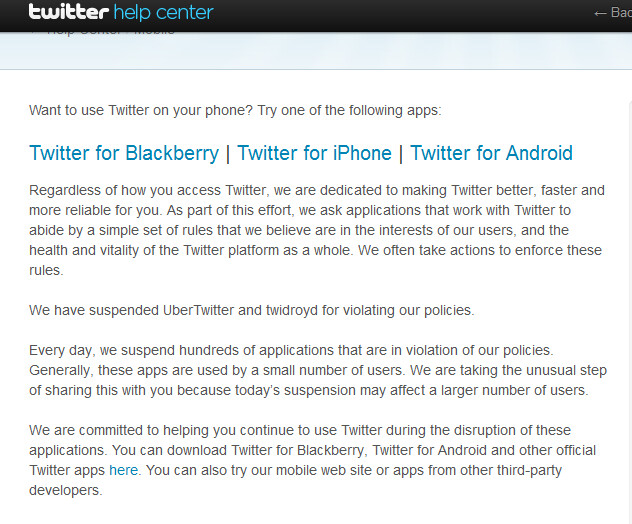 Twitter has suspended Ubertwitter and Twidroyd - Twitter suspends Twidroyd with new version coming soon